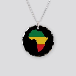 Green, Gold and Red Africa Flag Necklace Circle Ch