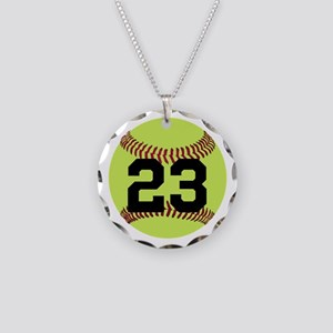 Softball Number Personalized Necklace Circle Charm