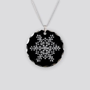 DIAMOND SNOWFLAKE Necklace Circle Charm