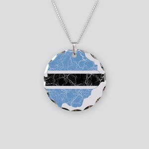 Botswana Flag And Map Necklace Circle Charm