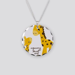 Mother and child Giraffe Necklace Circle Charm