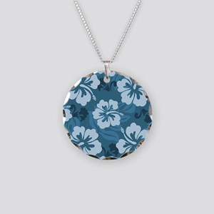 Blue Hibiscus Necklace Circle Charm