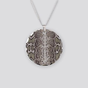Snakeskin Animal Print Necklace Circle Charm
