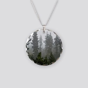 Misty pines Necklace Circle Charm
