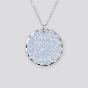Sky Blue and White Damask Necklace Circle Charm