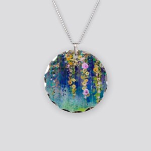 Floral Painting Necklace Circle Charm