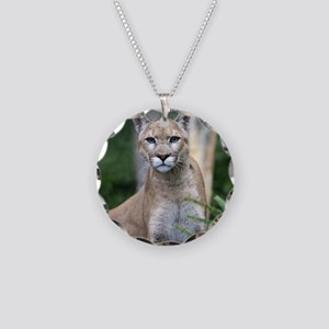 Mountain Lion Necklace Circle Charm