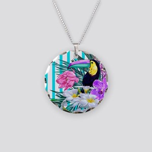 Tropical Toucan Necklace Circle Charm