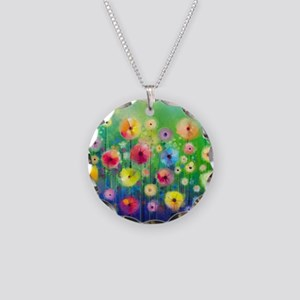 Watercolor Flowers Necklace Circle Charm
