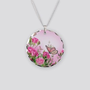 Butterfly Flowers Necklace Circle Charm