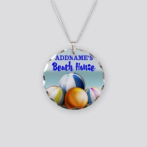 Personalized Beach Balls Bea Necklace Circle Charm