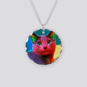 Pop Cat Art Design Necklace Circle Charm
