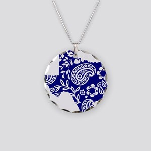 Blue Paisley Necklace Circle Charm
