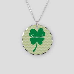 Four Leaf Clover Necklace Circle Charm