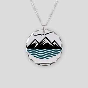 Oregon Mountains and Waves Necklace Circle Charm