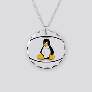 Tux Linux Oval Necklace Circle Charm