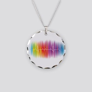 Gay Pride Pulse Necklace Circle Charm