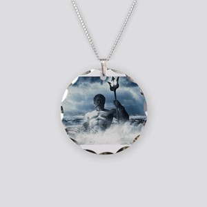 Neptune Rising from the Wave Necklace Circle Charm