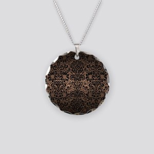 DAMASK2 BLACK MARBLE & BRONZ Necklace Circle Charm