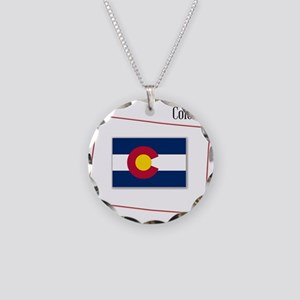 Colorado State Map and Flag Necklace Circle Charm