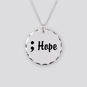 Hope Semicolon Necklace Circle Charm
