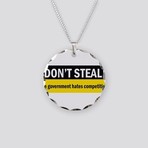 Don't Steal Necklace Circle Charm