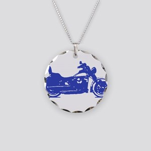 Motorcycle Blue Shadow Necklace Circle Charm