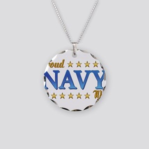 Proud Navy Wife Necklace Circle Charm