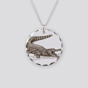Hand painted animal crocodil Necklace Circle Charm