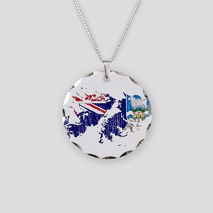Falkland Islands Flag And Map Necklace Circle Char