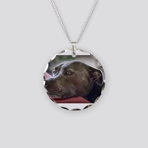 Loving Pitbull Eyes Necklace Circle Charm