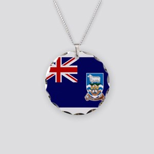 Falkland Islands Flag Necklace Circle Charm
