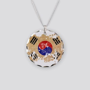 South Korea Flag Necklace Circle Charm