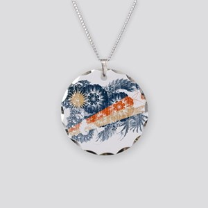 Marshall Islands Flag Necklace Circle Charm