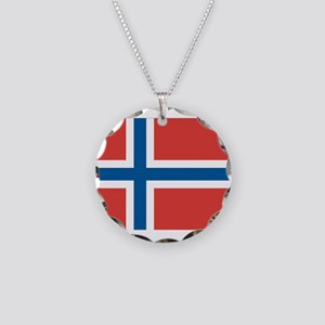 Norwegian Flag Necklace Circle Charm
