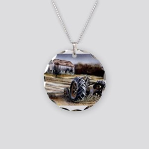 Old Tractor Necklace Circle Charm