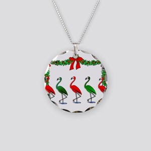 Christmas Flamingos Rockette Necklace Circle Charm