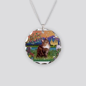Maine Coon in Fantasy Land Necklace Circle Charm