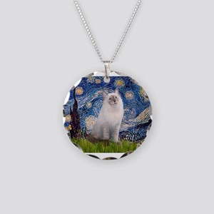 Starry Night Ragdoll Necklace Circle Charm