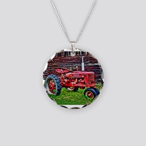 Red Tractor HDR Style Necklace Circle Charm