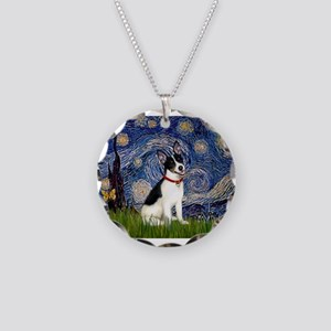Starry Night / Rat Terrier Necklace Circle Charm