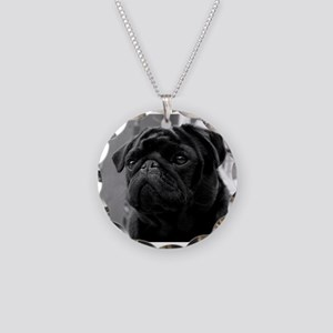Black Pug Necklace Circle Charm