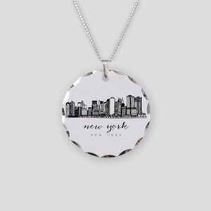New York City Skyline Necklace Circle Charm