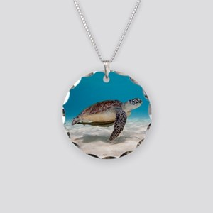 Sea Turtle Necklace Circle Charm