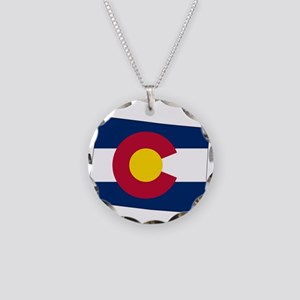 Colorado State outline Map a Necklace Circle Charm