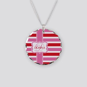Girly Pastel Stripes Monogram Necklace Circle Char