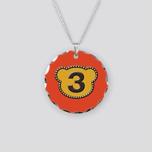 Bear Head Number 3 three Necklace Circle Charm