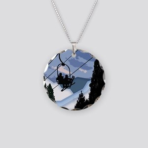 Chairlift Full of Skiers Necklace Circle Charm