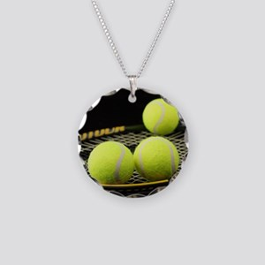 Tennis Balls And Racquet Necklace Circle Charm