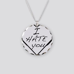 I hate you Love Necklace Circle Charm
